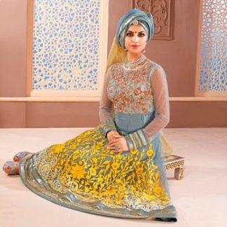 Stunning Dark Grey Dress Material with Bright Yellow Work-0