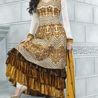 Beautiful Semi Stitched Anarkali Suit in White and Yellow Color-0