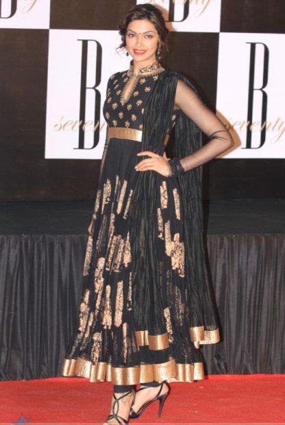 Bollywood Replica Deepika Padukone in Bold Black Dress-0