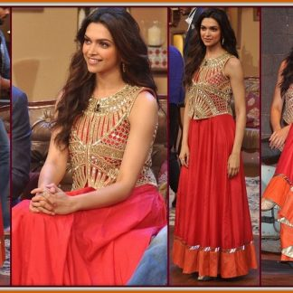Beautiful Actress Deepika Padukone in Red and Orange Gown-0