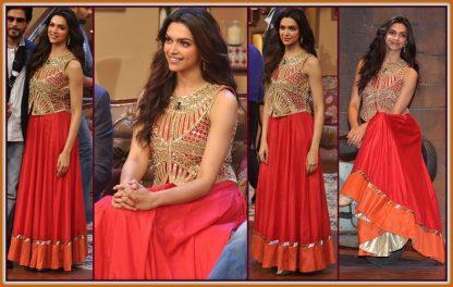 Beautiful Actress Deepika Padukone in Red and Orange Gown-0