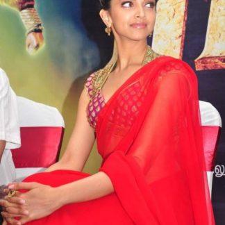 Bollywood Actress Deepika Padukone Designer Red Saree-0