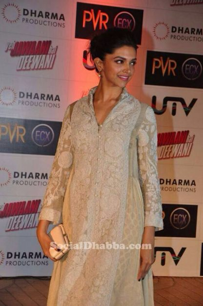 Bollywood Actress Deepika Padukone in White Embroidered Gown-0
