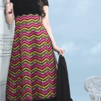 Designer Pure Georgette Semi Stitched Black Dress Material-0