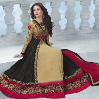 Beautiful Semi Stitched Designer Dress Material in Beige and Black-0
