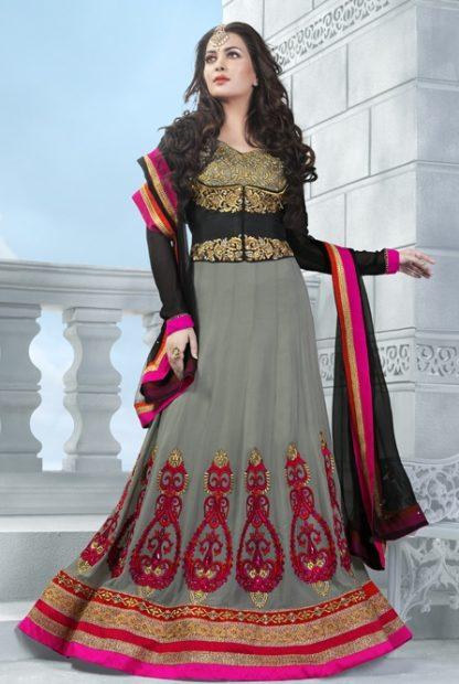 Beautiful Designer Grey and Black Anarkali Suit-0