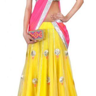 Designer Lehenga Choli in Yellow and Pink Color-0