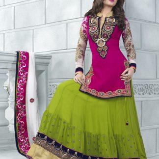 Beautiful Semi Stitched Designer Lehenga Pattern Dress Material-0