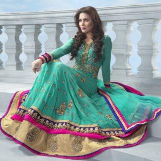 Beautiful Sea Green Designer Semi Stitched Dress Material-0