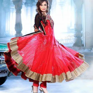 Beautiful Actress Dia Mirza in Tomato Red Salwar Kameez-0
