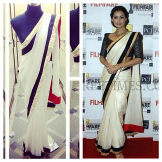 Bollywood Actress Dia Mirza in White Georgette Saree-0