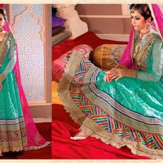 Beautiful Sea Green Embroidered Designer Dress Material-0