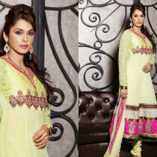 Beautiful Actress Esha Kopikar in Light Yellow Anarkali Suit-0