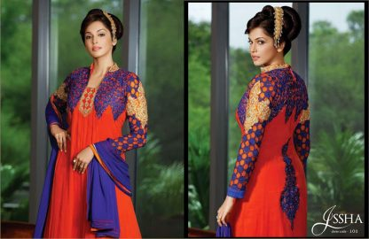 Bollywood Replica Esha Kopikar in Dazzling Blue and Red Salwar Kameez-0