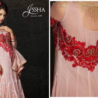 Beautiful Actress Esha Kopikar in Light Peach and Red Anarkali Suit-0