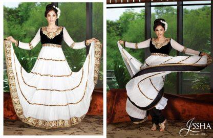 Gorgeous Actress Esha Kopikar in White and Black Anarkali Suit-0