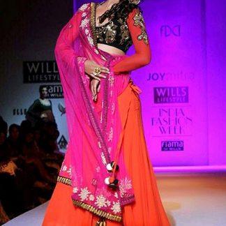 Beautiful Gauhan Khan Designer Orange Lehenga-0