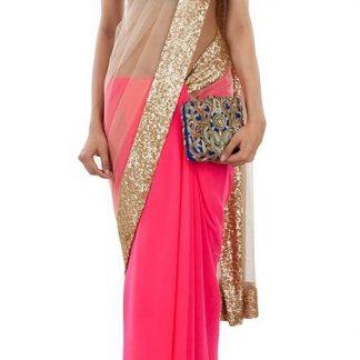 Stunning Georgette Pink and Beige Net Saree-0