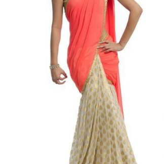 Beautiful Georgette Red and Off White Saree-0