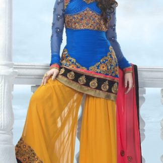Beautiful Pure Georgette Suit in Blue with Sharara Pants-0