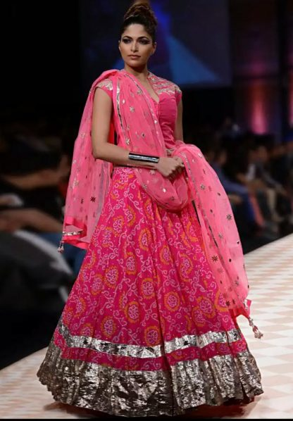 Gorgeous Pink Colored Bandhej Lehenga-0