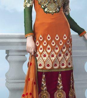Beautiful Semi Stitched Designer Orange and Green Dress Material-0