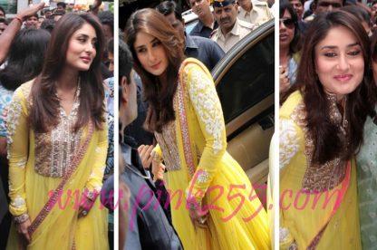 Beautiful Actress Kareena Kapoor in Bright Yellow Dress-0