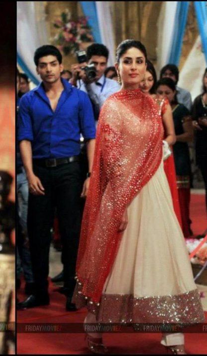 Bollywood Replica Kareena Kapoor in Off Georgette White Dress-0