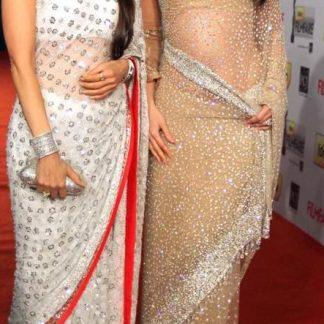 Beautiful Actress Kareena Kapoor in Beautiful Satin Georgette Saree-0