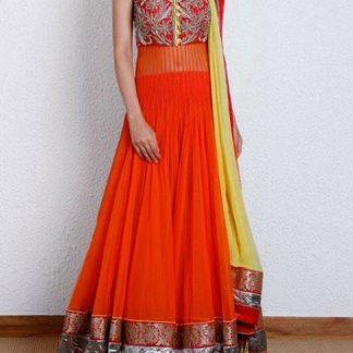 Long Length Orange Anarkali Dress-0