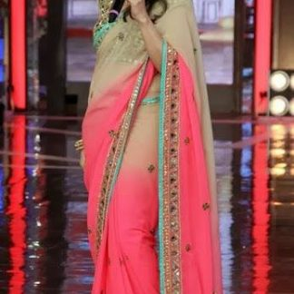 Bollywood Actress Madhuri Dixit in Cream and Pink Shaded Saree-0