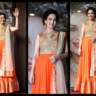 Gorgeous Actress Madhuri Dixit Designer Orange Salwar Suit-0