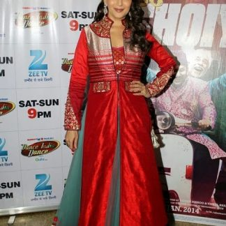 Bollywood Actress Madhuri Dixit in Red and Grey Lehenga-0