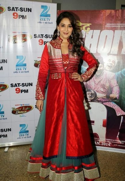 Bollywood Actress Madhuri Dixit in Red and Grey Lehenga-0