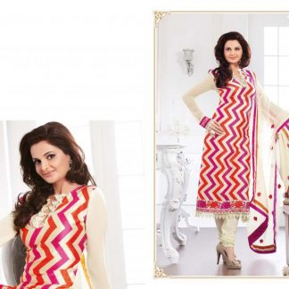 Bollywood Replica Monika Bedi in Cream Semi Stitched Salwar Suit-0