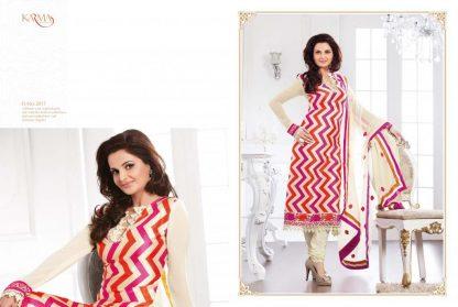Bollywood Replica Monika Bedi in Cream Semi Stitched Salwar Suit-0