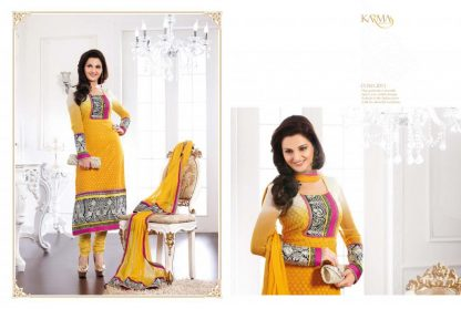 Bollywood Actress Monika Bedi in Faux Georgette Yellow Suit-0