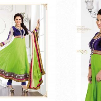 Bollywood Actress Monika Bedi in Dark Blue and Green Salwar Suit-0