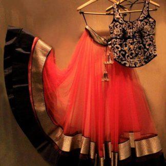 Beautiful Lehenga in Neon Orange and Black Color-0