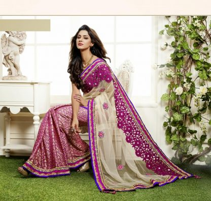 Beautiful Off White and Pink Net Saree-0