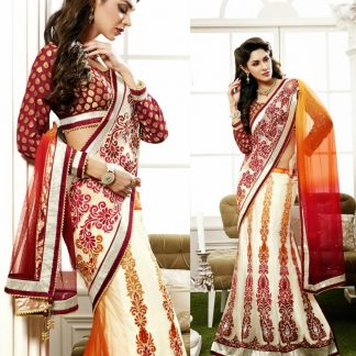 Elegant Party Wear Lehenga Saree in White Color-0