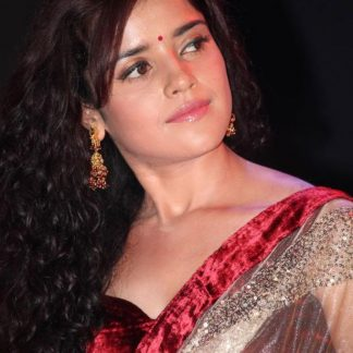 Actress Piaa Bajpai in Elegant Beige Net Saree-0