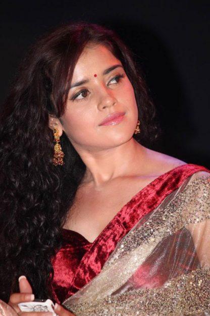 Actress Piaa Bajpai in Elegant Beige Net Saree-0