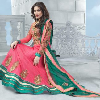 Designer Semi Stitched Dress Material in Pink and Green Color-0