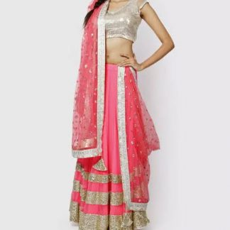 Pink Georgette Lehenga with Sequined Border Work-0