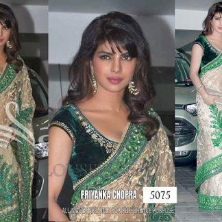 Bollywod Actress Priyanka chopra in Beige and Green Embroidery Saree-0