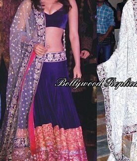 Bollywood Replica Priyanka Chopra in Blue Velvet Designer Lehenga-0