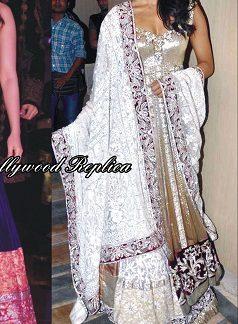 Celebrity Priyanka Chopra Enticing White Designer Lehenga-0