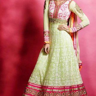 Pure Georgette and Banarasi Jacquard Anarkali Suit-0