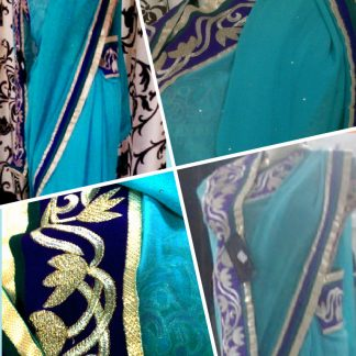 Turquoise Colored Pure Georgette Saree with Mukesh Work-0